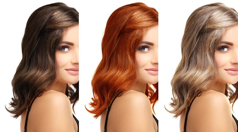 Femme avec différente couleurs de cheveux