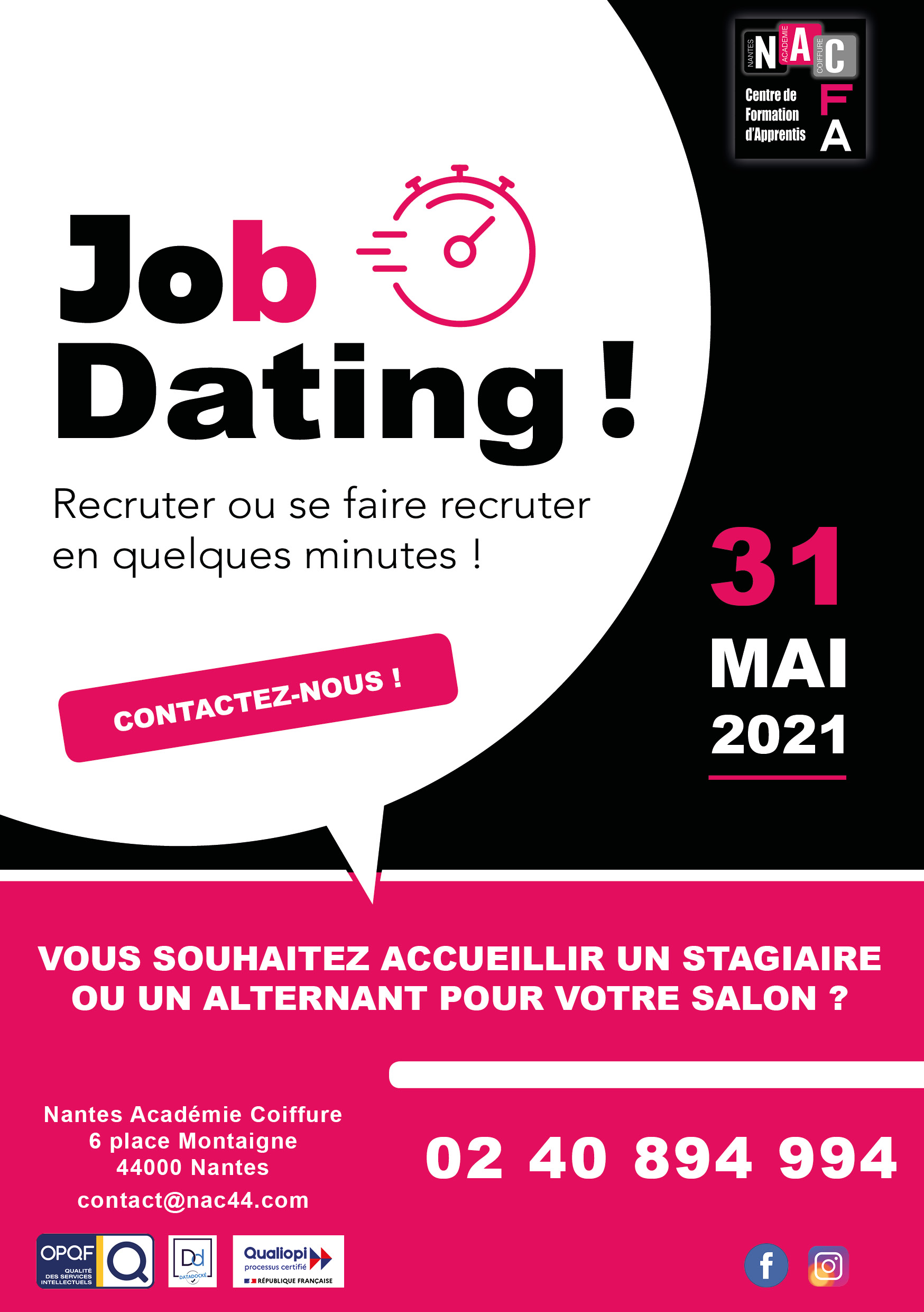 JOB DATING 31 MAI 2021 Nantes Académie Coiffure