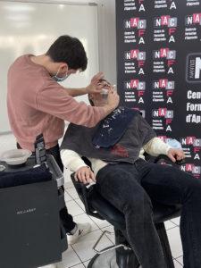 Démonstration Alexandre Lebeau sur modèle option Barber Nantes Académie Coiffure
